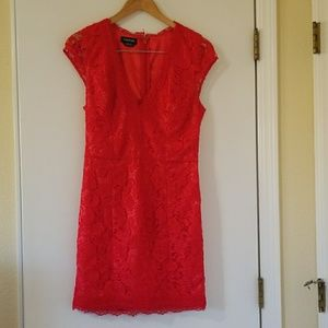 Bebe Dress, Red, Lacey, Size 6